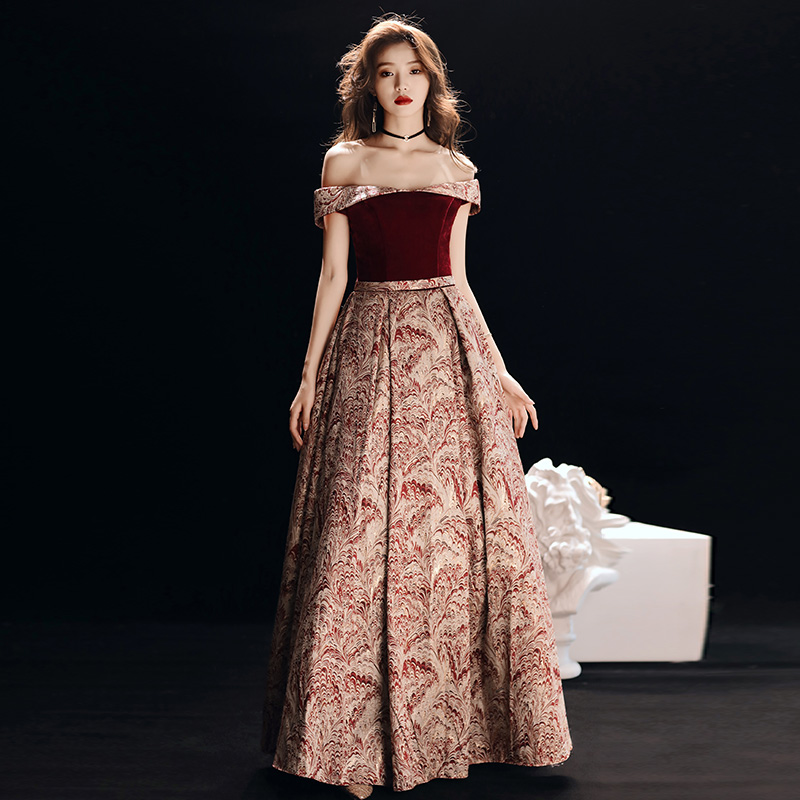 New Sexy Boat Neck Cap Sleevs Long A-line Floral Print Evening Dresses 2019 Elegant Party Gowns Glitter Prom Dress