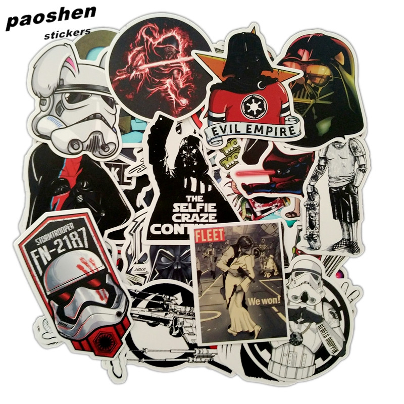 100Pcs/Lot Very Cool Styling Star Wars Luggage Decal Toy The Stickers For Car Pvc Waterproof Laptop Motorcycle Skateboard Sticke vintage lady beauty luggage skateboard stickers pvc waterproof sunscreen car stickers 5 12cm laptop stickers