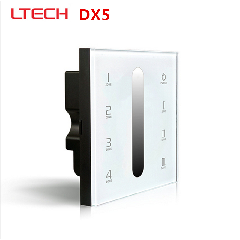 цены LTECH DX5 Touch Led DMX Dimmer Controller AC100-240V 86 Glass Panel DMX512 + 2.4G RF 4-Zone Dimming Dimmer Free Shipping