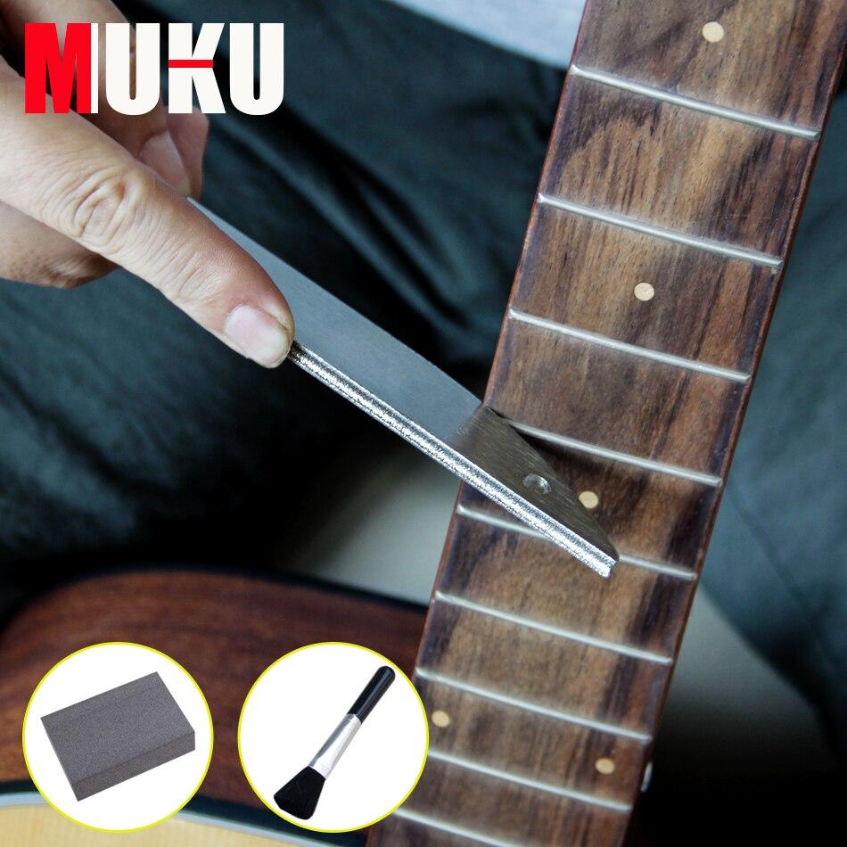 MUKU Guitare Professionnel Outils/Acier Inoxydable Fichier pour Guitare Frettes avec Diamant Abrasifs + Propre brosse + éponge brosse