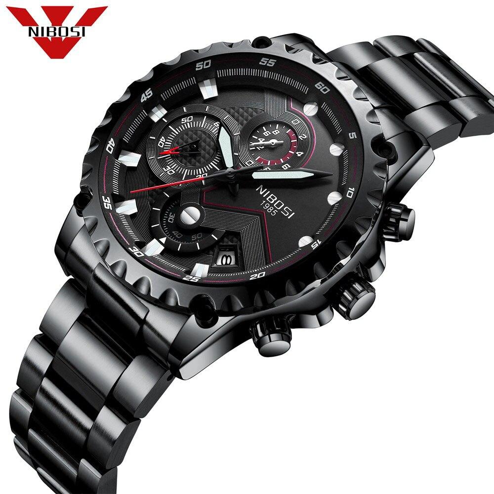 Nibosi Mens Luxury Brand Full Steel Quartz Watches Men Standard Military Wire Harness Lacing