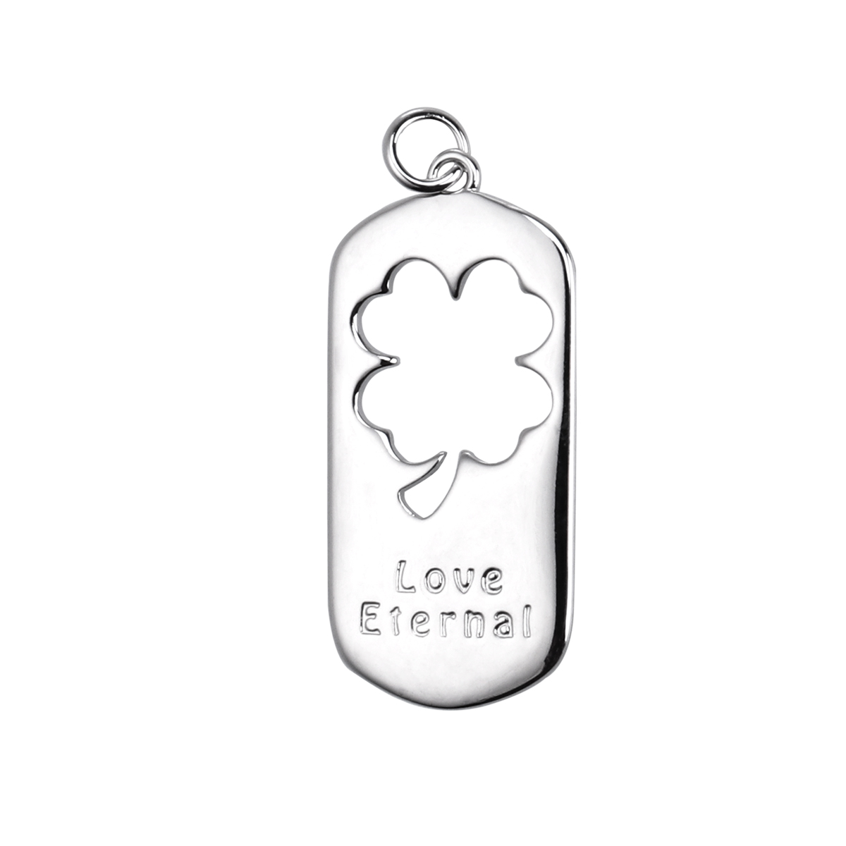 Pixnor Love Eternal Letter Charms Hollow Four Leaf Clover Pendant Silver Necklace Matching Pendant Jewelry Gift For Man Male