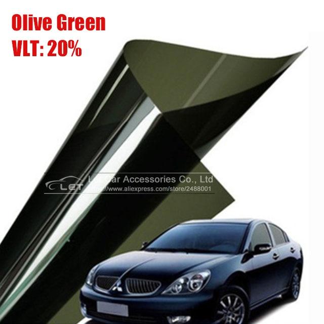 50x 300cm Olive Green Car Window Tint Film Glass Vlt 20