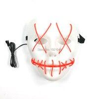 Оптовая продажа светящаяся маска EL Провода мигание страшно Вышивание рот полный маска для Halloween Party украшения 50 шт. с dc-3v драйвер
