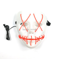 Wholesale Glowing Mask EL Wire Blinking Scary Sewing mouth Full face mask for Halloween Party Decoration 50pcs with DC 3V Driver