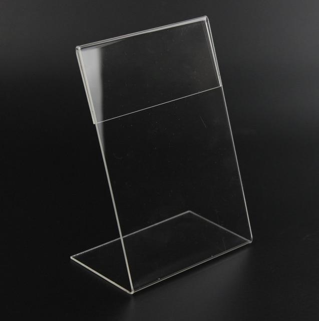 חדש 10 יח\חבילה באיכות גבוהה ברור 6x9cm L צורת אקריליק שולחן סימן מחיר תג תווית תצוגת נייר קידום כרטיס מחזיק מעמד