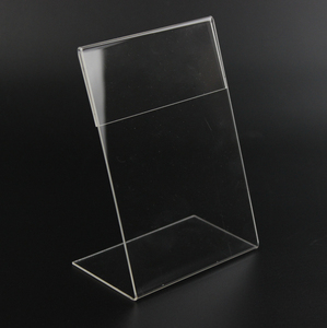 Image 1 - New 10pcs/lot High Quality Clear 6x9cm L Shape Acrylic Table Sign Price Tag Label Display Paper Promotion Card Holder Stand