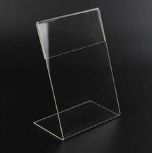 Nieuwe 10 Stks/partij Hoge Kwaliteit Clear 6X9Cm L Vorm Acryl Tafel Teken Prijskaartje Label Weergave Papier promotie Kaarthouder Stand