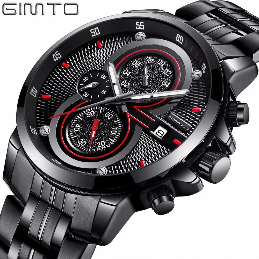GIMTO Casual Sport Chronograph Creative Watches Men Clock Steel Series Quartz Watch Waterproof Luxury Brand Military Wristwatch seiko watch premier series sapphire chronograph quartz men s watch snde23p1