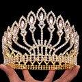 2017 nova baroqu estilo europa royal crown special branco placa de ouro claro strass coroas reais para o baile de casamento festas