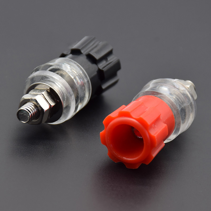 1Pair Red Black JS-900A Transparent 3mm Terminal   Banana Plug Socket Connector High-power  Current SCR Material Welding
