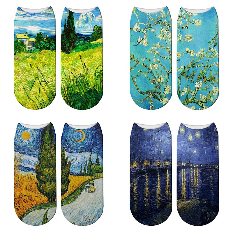 New 3D Retro Painting Art Van Gogh Socks Women Funny Flower Starry Night Short Socks Famous Oil Painting Calcetines Mujer Socks