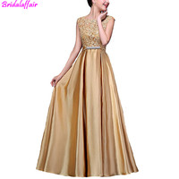 Fashion Elegant Golden Robe de soiree 2019 O Neck Floral Lace Satin Long Evening Dress Custom made Prom Party Gown