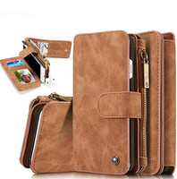 For IPhone 6 Case Cowhide Leather 2in1 Flip Wallet Phone Bag Cover For Apple IPhone 7