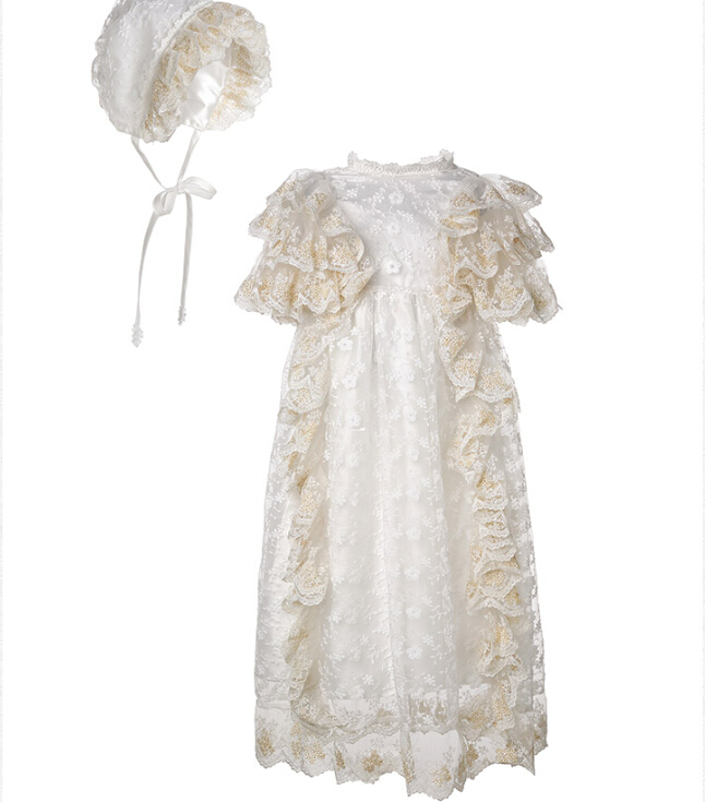 2016 Vintage Noble Christening Dress White Ivory Baptism Gown Baby Girl Boy Lace Applique With Bonnet 0-24month white christening dress baby girl christening gowns vintage long lace gown baby christenin baptism girl princess dresses
