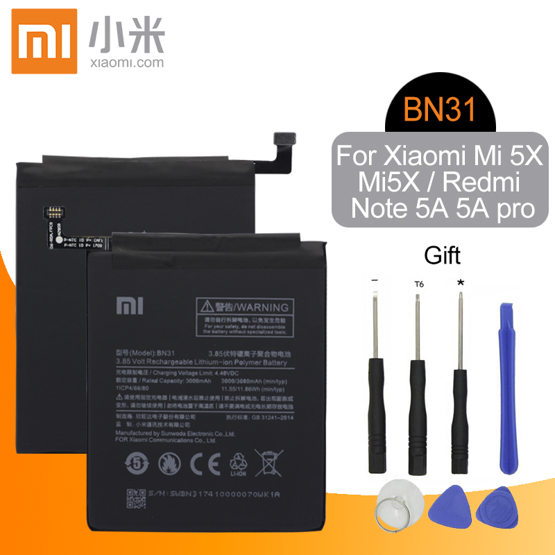 <font><b>Xiaomi</b></font> Original BN31 Mobile Phone <font><b>Battery</b></font> For <font><b>Xiaomi</b></font> Mi 5X <font><b>MiA1</b></font> Mi5X / Redmi Note 5A 5A Pro Replacement <font><b>Battery</b></font> 3000mAh +Tools image