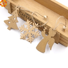 12PCS Gold&Sliver DIY Christmas Snowflakes Wooden Pendants Ornaments Christmas Party Decorations Xmas Tree Ornaments Kids Gifts
