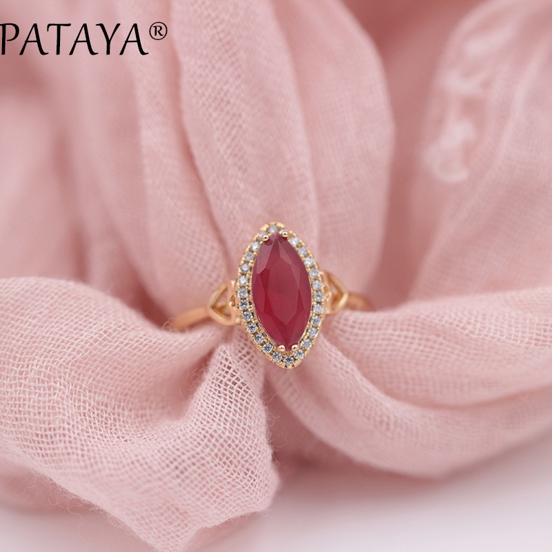 PATAYA New Arrivals Horse Eye Natural Zircon Rings 585 Rose Gold Women Wedding Party Fashion Love Luxury Fine Jewelry 5Colors