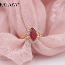 PATAYA New Arrivals Horse Eye Natural Zircon Rings 585 Rose Gold Women Wedding Party Fashion Love Luxury Fine Jewelry 5Colors(China)