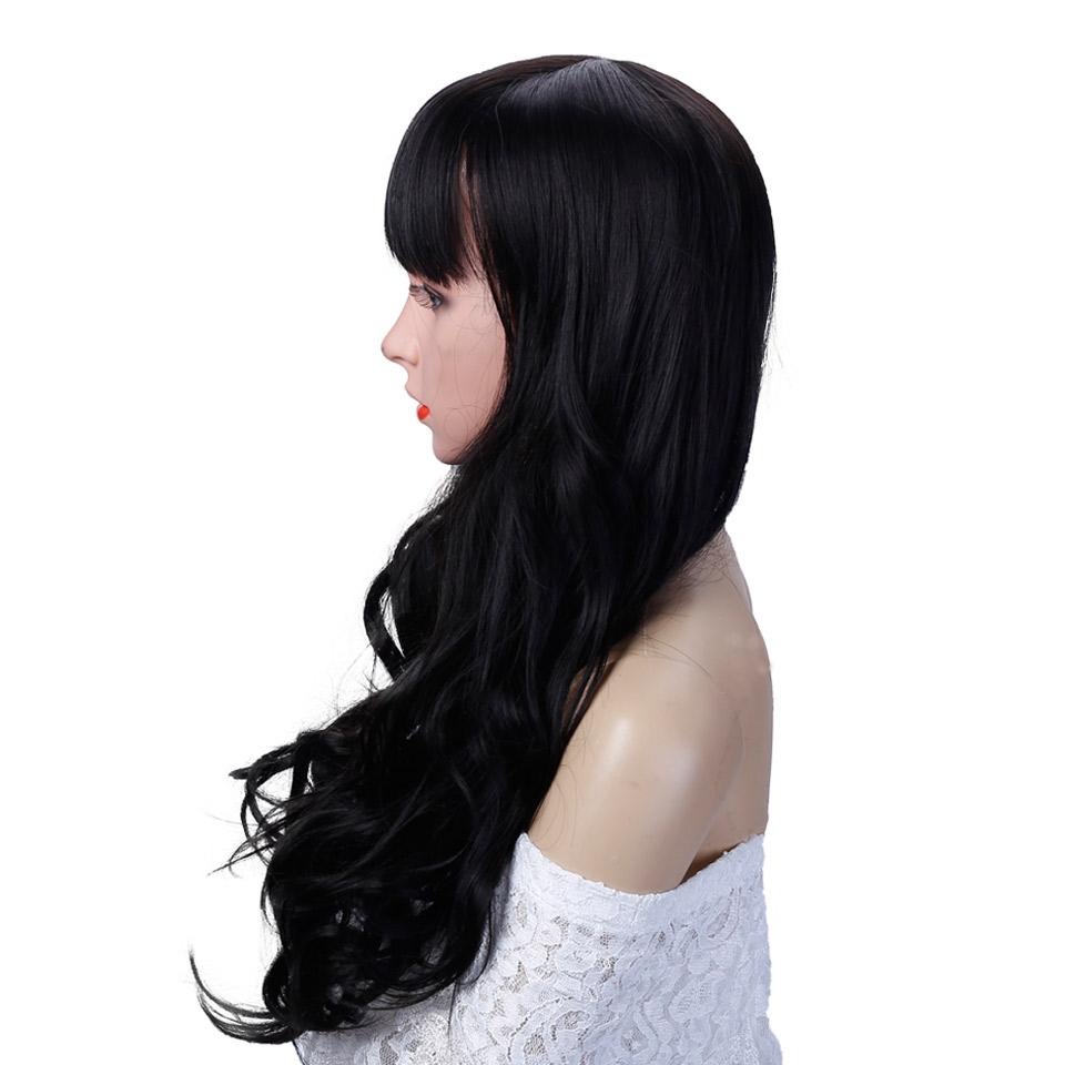 Allaosify Black long wavy wig Fibre filament Cosmetic wig 24