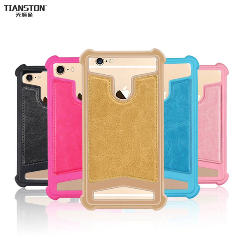 TIANSTON Universal Phone Bag Case Soft Silicone Cover Air bag leather grain Shell Shell Carcasas funda coque for iPhone Samsung Huawei