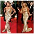 2015 el nuevo celebrity inspired dress sexy borgoña Oscar alfombra roja se viste, lentejuelas de oro vestido de noche sin espalda larga dividida