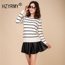 HZYRMY Spring Autumn NewWomen Cashmere Cardigan Round Neck Fashion Stripe Short Rear Cardigan Shirt Loose Wool Knit Soft Sweater
