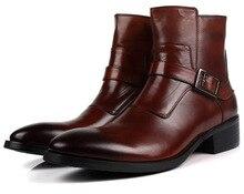 Moda marrom tan/preto ankle boots botas dos homens genuínos sapatos de couro da motocicleta dos homens casuais botas de inverno com