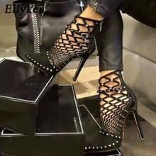 Eilyken 2020 Gladiator Sandals Summer Spring Pointed Toe Rivets Studded Cut Out Caged Ankle Boots Stiletto Heel Women Shoes