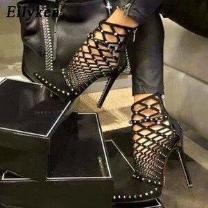 Image 1 - Eilyken 2020 sandalias de Gladiador, verano primavera, puntiagudas, remaches con tachuelas, botines enjaulados, zapatos de tacón de aguja para mujer