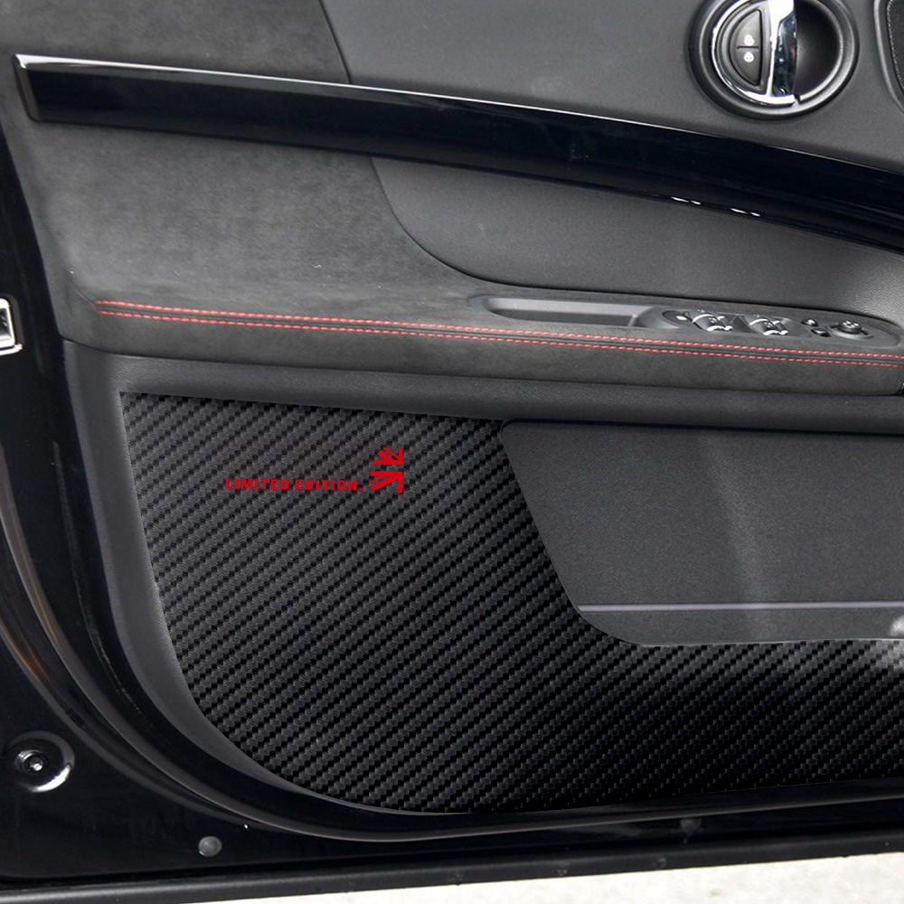 5D Carbon Fibre Leather Door Anti kick Pad Protective Cover Door Protection Sticker for MINI Countryman F60 2017 Accessories in Automotive Interior Stickers from Automobiles Motorcycles