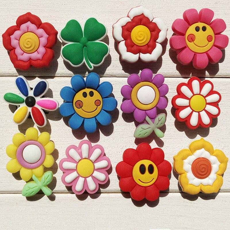 Novelty Cute 24PCS Small Flowers Smile Face PVC Shoe Charms Fit Bracelets Jibz Croc,Shoe Accessories Ornamnts,Kids Party Gifts
