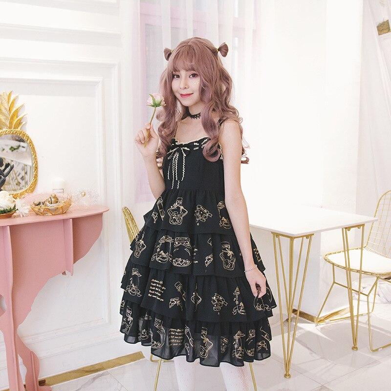 Kawaii Lolita robe douce mi-hauteur lolita marquage à chaud JSK robe japonaise douce soeur sangle sans manches robe
