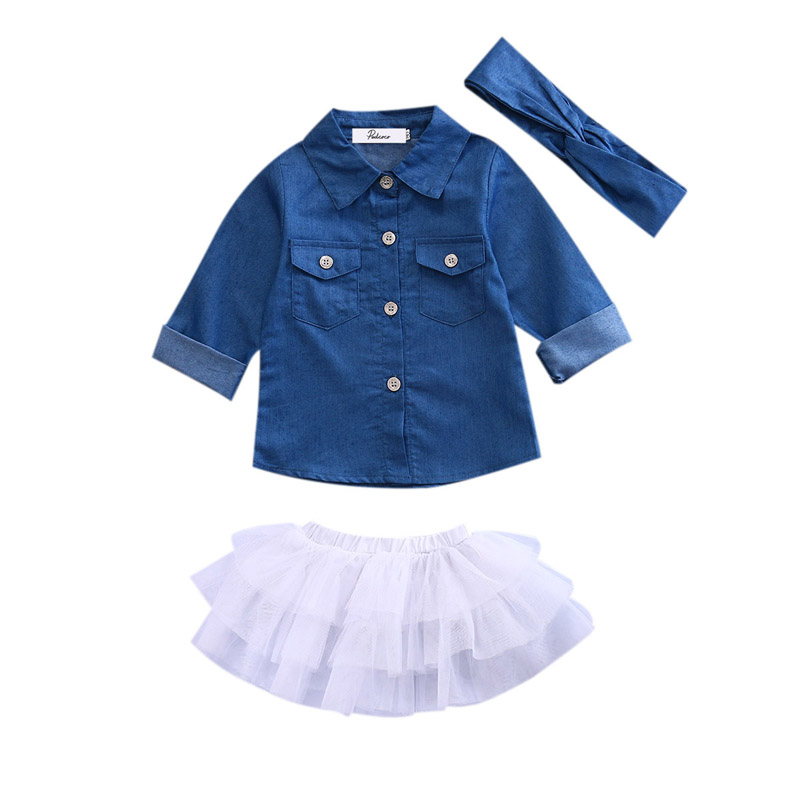New Kids Baby Girls Denim Long Sleeve Tops Shirt+Tutu Skirts Dress Headband 3pcs Outfits Set