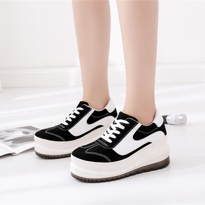 Vache De À Laid Ronde Moment Semelles Peau forme Bandeau Épaisses Plate Noir Harajuku Rétro Chaussures Qualité Casual Augmenter 54xUUwZIdq