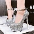 Listrado coreano Dedo Do Pé Redondo Mulheres Bombas À Prova D' Água Simples Rebites Sensuais De Salto Alto Sapatos Única Fêmea