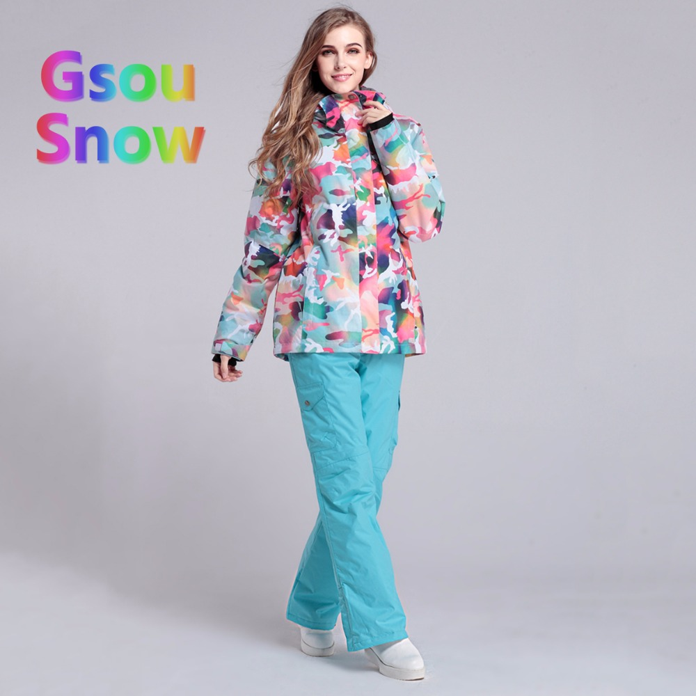 Gsou Sonw Outdoor Winter Ladies Skiing Sports Clothing Snowboarding Sets Warmer Ski Jackets Waterproof Ski Pants Suits
