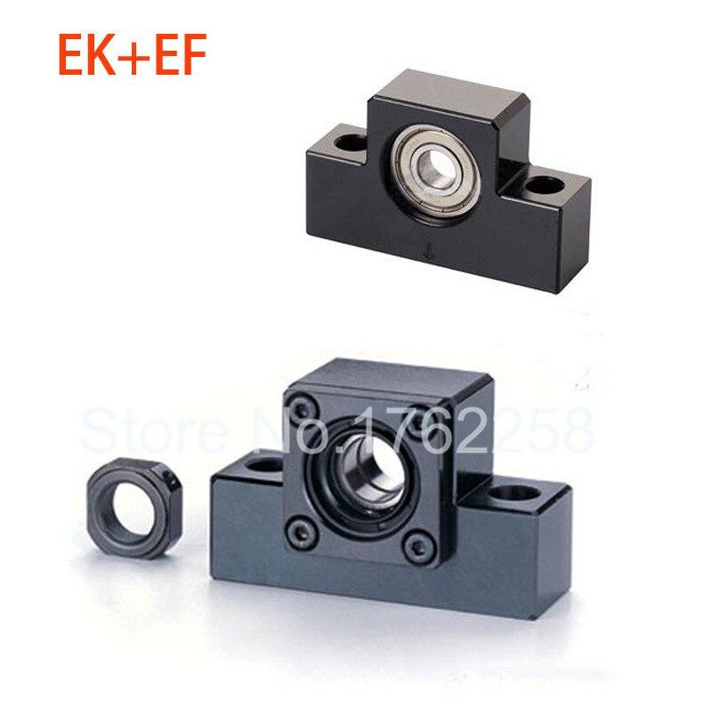 EK15 EF15 Ball Screw End Support Set : 1 pc Fixed Side EK15 and 1 pc Floated Side EF15 for SFU2005 Ball Screw CNC parts bk17 bf17 ball screw end supports for ball screw sfu2505 sfu2005 sfu2510 support cnc xyz
