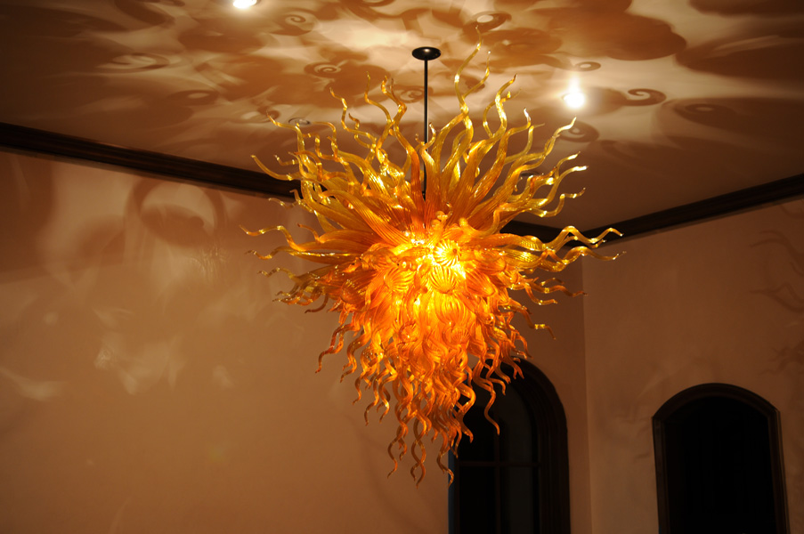 Chandeliers Inventive Italy Design Amber Chihuly Style Led Light Source 100% Hand Blown Glass Chandelier Lighting-lr412 Street Price