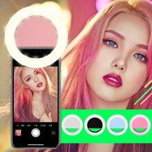 Перезаряжаемый USB зарядка селфи портативный светодиодный светильник-кольцо для камеры для iPhone 3 уровень яркости клип на все мобильные телефоны