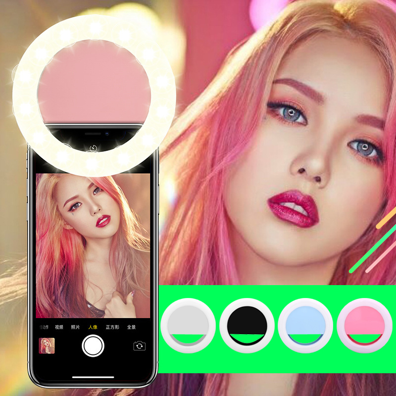Rechargeable USB Charge Selfie Portable LED Ring Fill Light Camera for iPhone 3 Brightness Levels Clip on All Mobile Phone