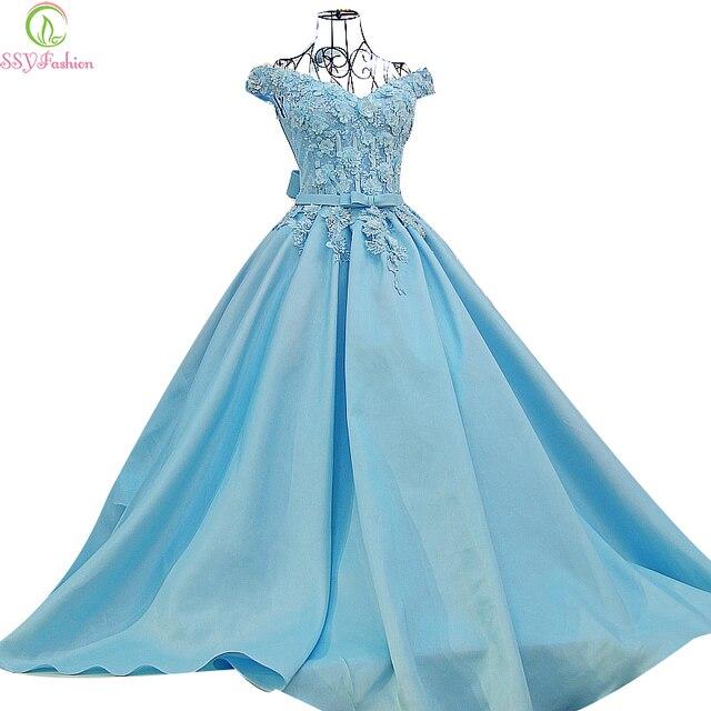 cf4e68215679c US $175.0 |2017 SSYFashion High grade Evening Dress The Bride Princess  Light Blue Satin Lace Flower A line Floor length Party Prom Dresses-in  Evening ...