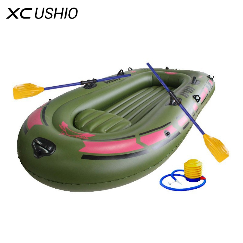 2 3 Person Inflatable Rowing Boat Bearing 250KG Durable PVC Rubber Fishing Boat Set 230x137cm with