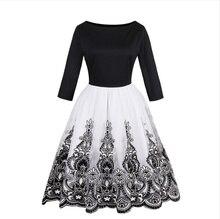 Женские винтажные 1950 S Стиль Платья с цветочным принтом праздничное черное платье элегантные женские Ретро стекаются Танк платья без рукавов