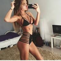 2015 New Strap Halter Push Up High Waist Bikini Set Hollow Triangle Sexy Swimwears Women Strappy