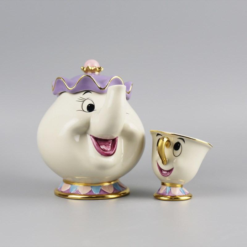 2016 New Luxury Cartoon Beauty And The Beast Teapot Mug