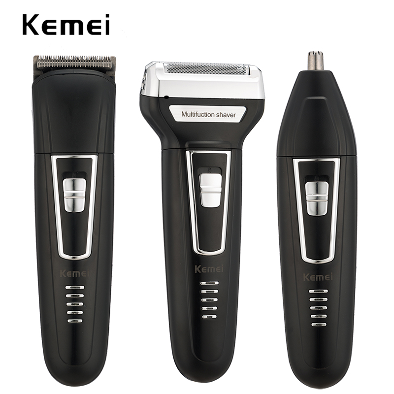 цена на kemei 3 in 1 rechargeable hair trimmer men electric shaver clipper shaving machine nose trimmer beard shaver floating razor