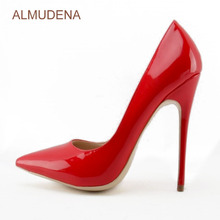 ФОТО almudena top brand hot red bright leather dress shoes slip-on nightclub pointed toe pumps bridal shoes discount women shoes