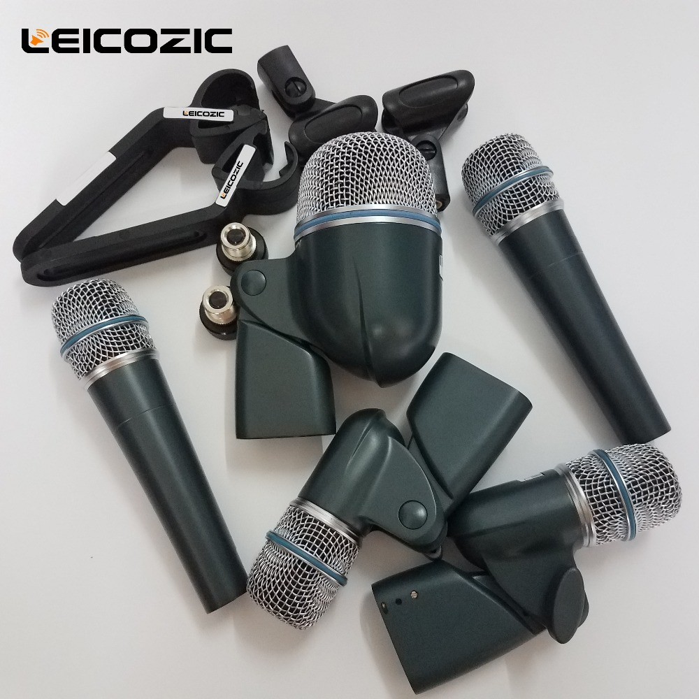 Leicozic Drum Microphone Kit Dmk5 Professional Drum Mic Kit Instrument Microphone 2x57A 1x52A 2x56A Microphones Instrumental Mic