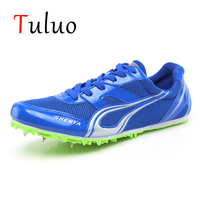 TULUO Solid Color Track and Field Shoes For Men Outdoor Teenagers Spikes Sneakers Light Student Professional Race Run Athletic
